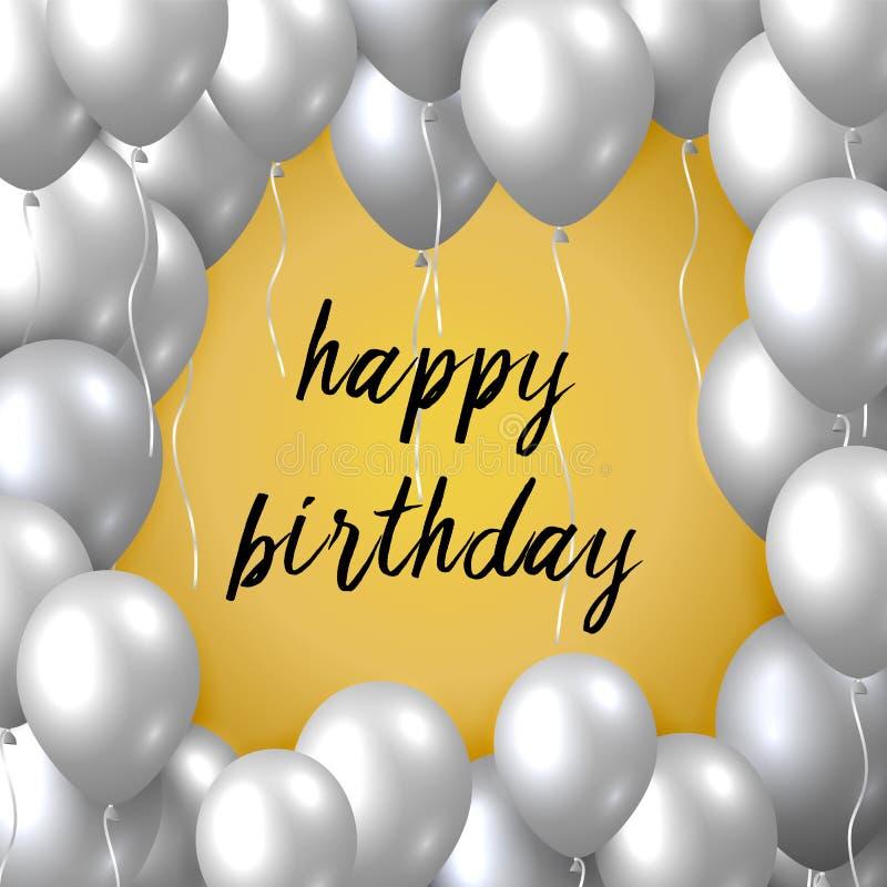 Bella cartolina d'auguri realistica di vettore di buon compleanno con i palloni volanti d'argento del partito su fondo dorato royalty illustrazione gratis