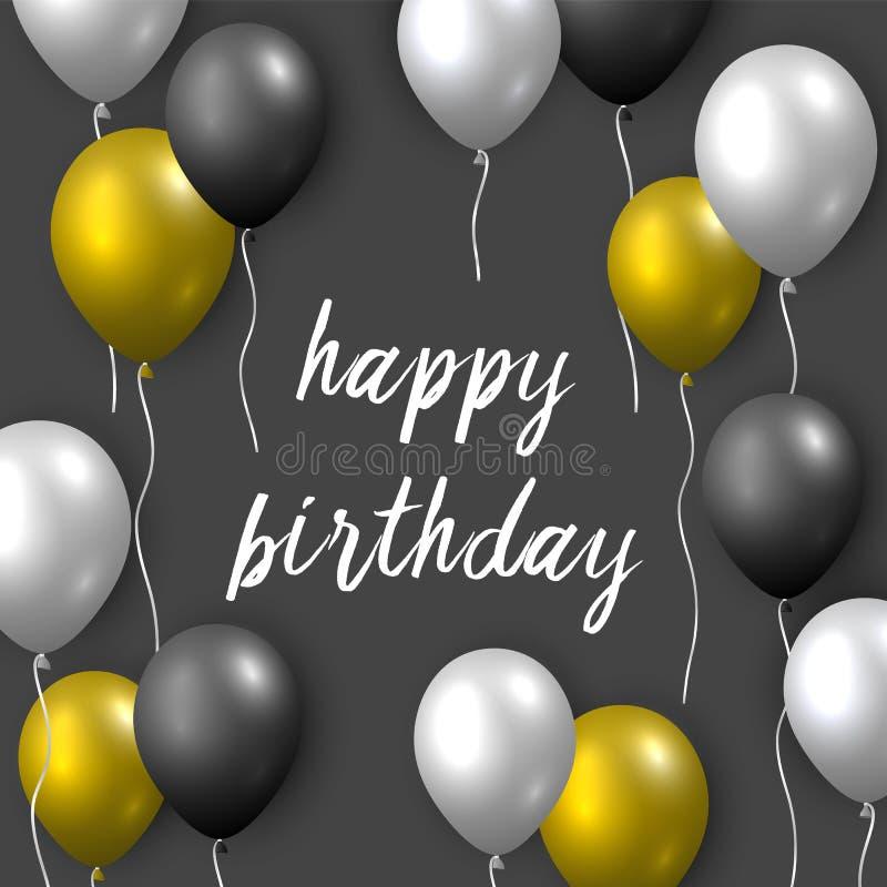 Bella cartolina d'auguri realistica di vettore di buon compleanno con i palloni volanti dorati, d'argento e neri del partito su f illustrazione vettoriale