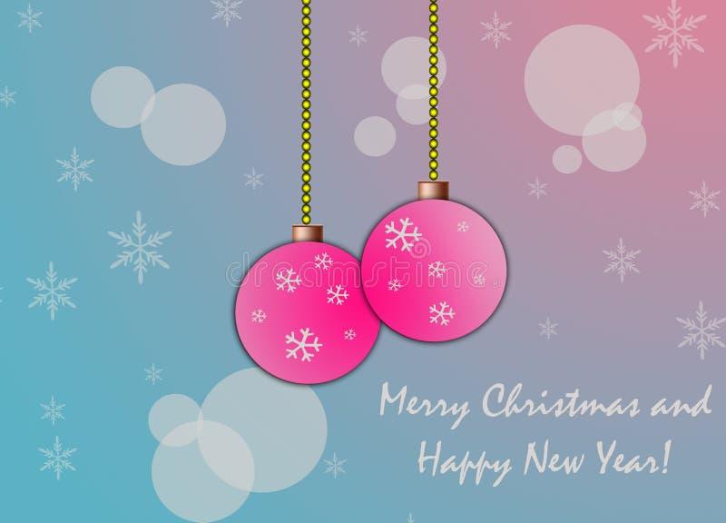 Bella cartolina di Natale con due fiocchi di neve rosa delle palle sopra e fondo blu illustrazione vettoriale