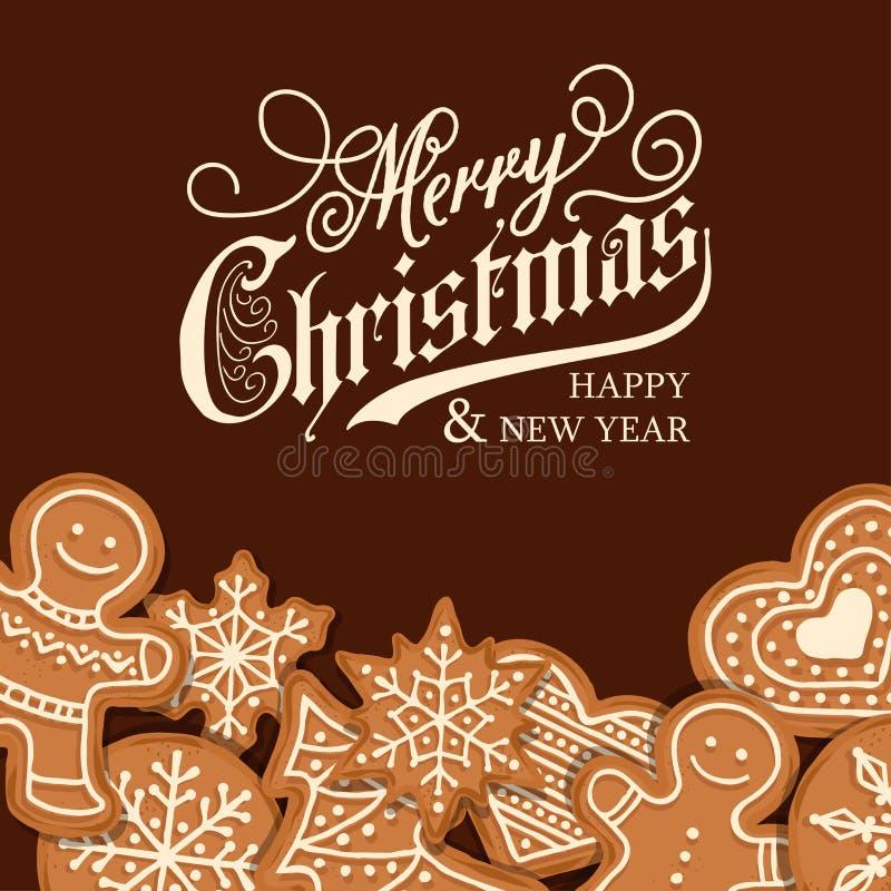 Bella cartolina di Natale con il pan di zenzero illustrazione vettoriale