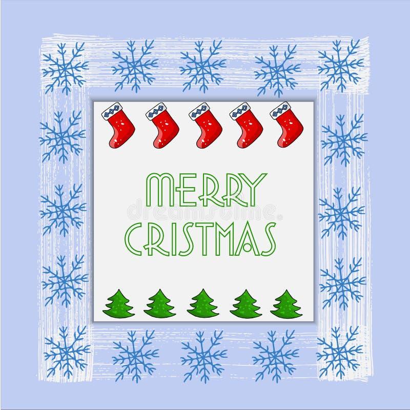 Bella cartolina di Natale con l'albero di Natale, i fiocchi di neve ed i calzini del nuovo anno Vettore royalty illustrazione gratis