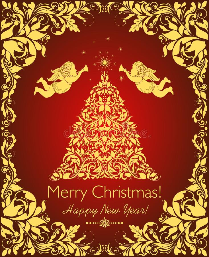Bella cartolina di Natale d'annata con l'albero floreale tagliato dorato di natale, gli angeli ed il confine decorativo di flouri illustrazione di stock