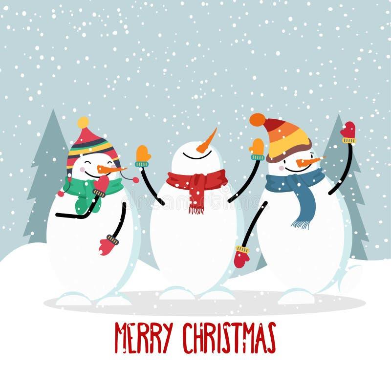 Bella cartolina di Natale piana di progettazione con il pupazzo di neve allegro royalty illustrazione gratis