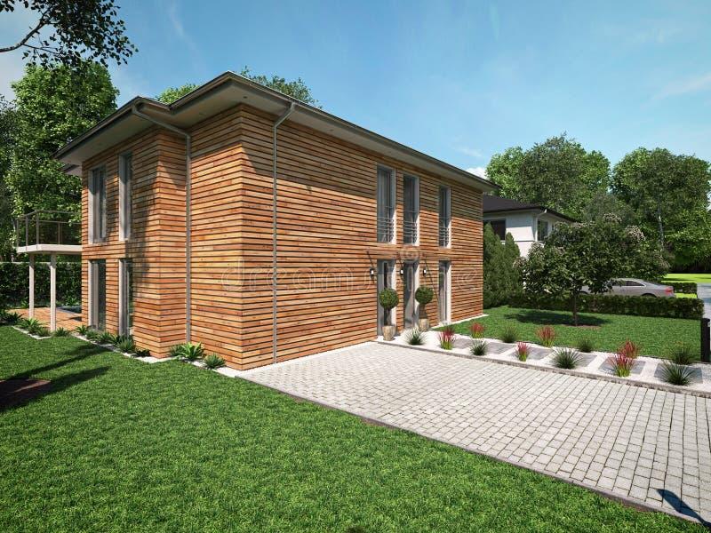 Bella casa moderna rappresentazione 3d fotografie stock