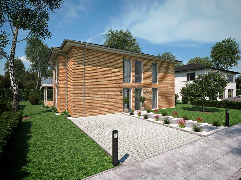Bella casa moderna rappresentazione 3d fotografie stock libere da diritti