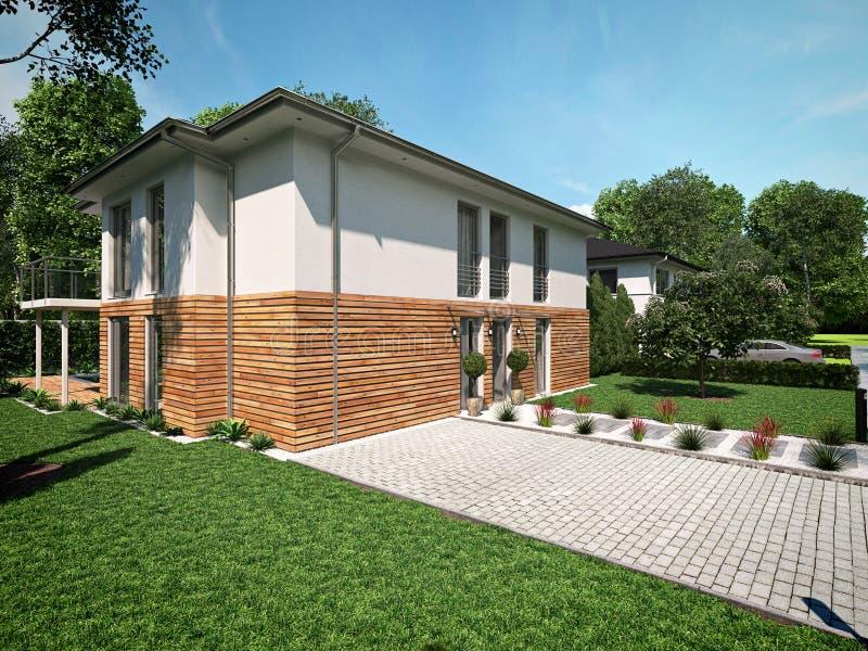 Bella casa moderna rappresentazione 3d immagini stock