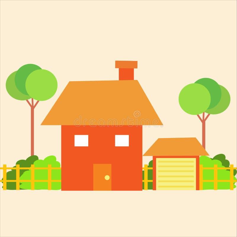 Bella casa in un ambiente verde illustrazione vettoriale
