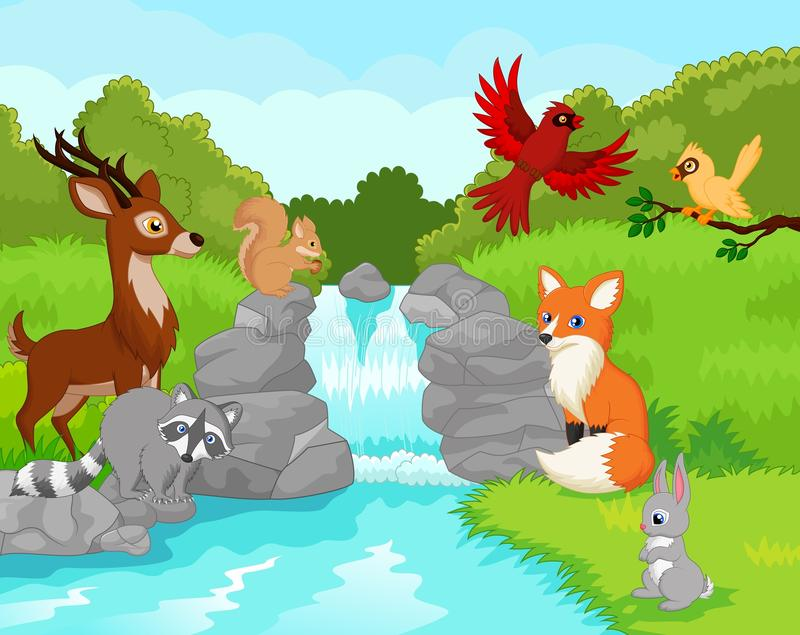 Bella cascata con gli animali selvatici royalty illustrazione gratis