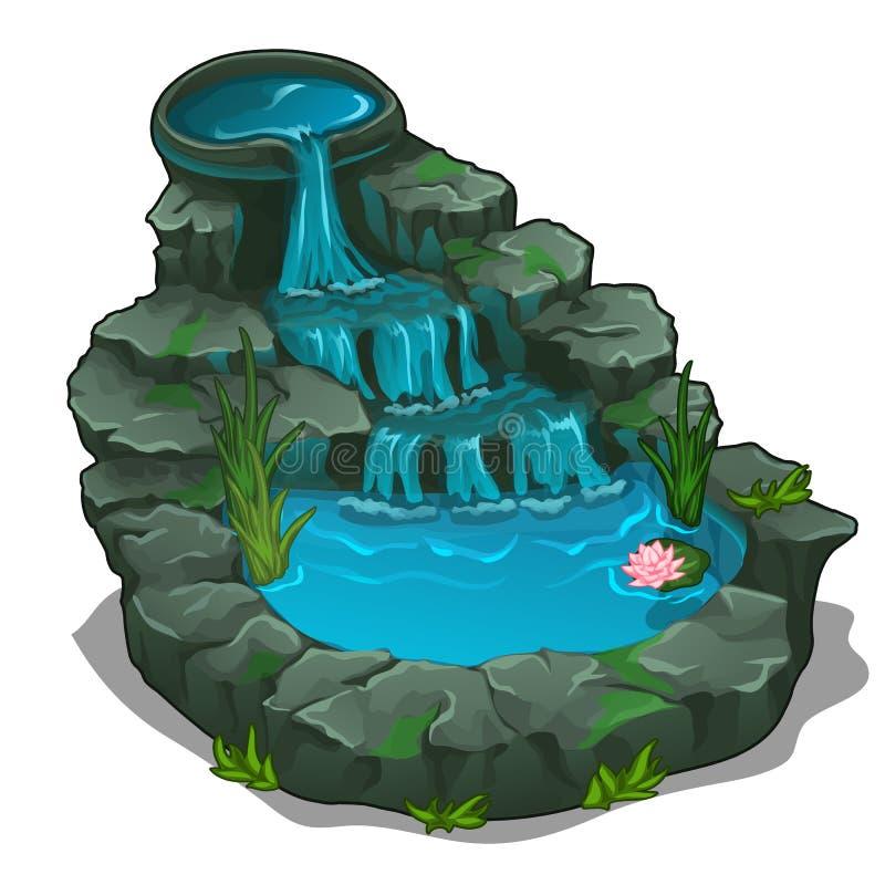 Bella cascata con la piscina Vettore illustrazione di stock