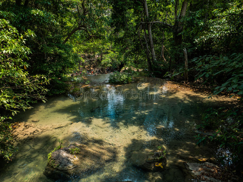 bella cascata di Erawan in Kanchanaburi immagini stock libere da diritti
