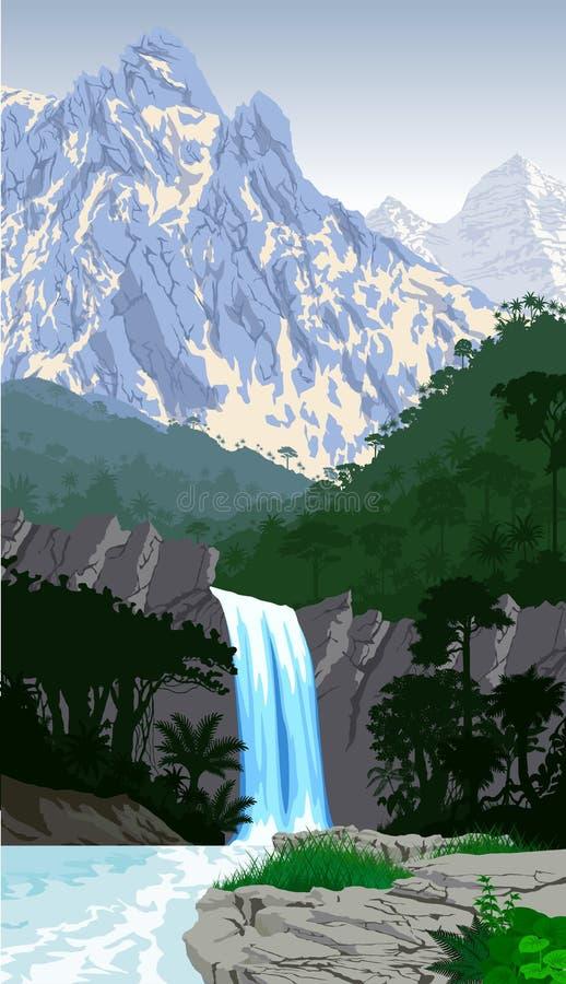 Bella cascata di vettore in montagne della foresta pluviale della giungla illustrazione di stock