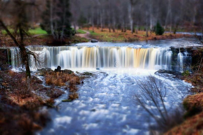 Bella cascata in Estonia immagine stock