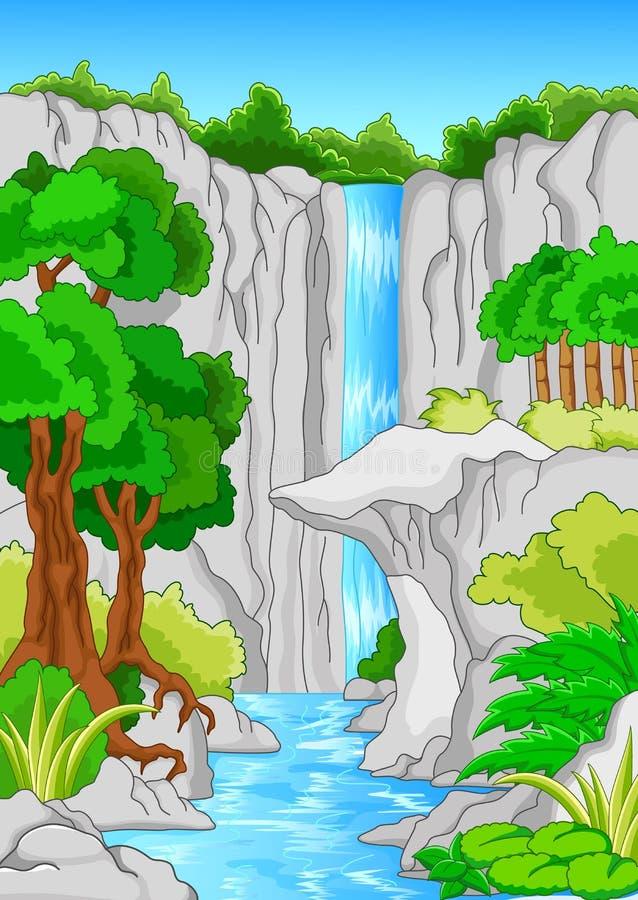 Bella cascata isolata sul bianco illustrazione vettoriale