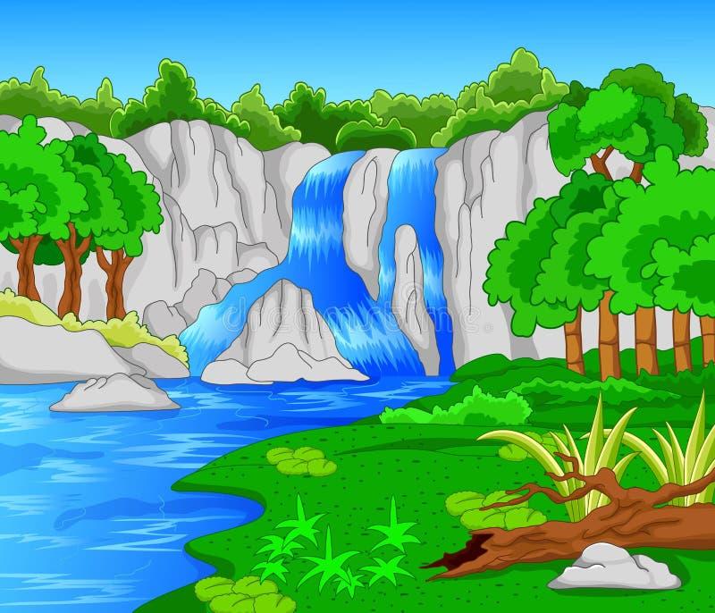 Bella cascata isolata sul bianco royalty illustrazione gratis