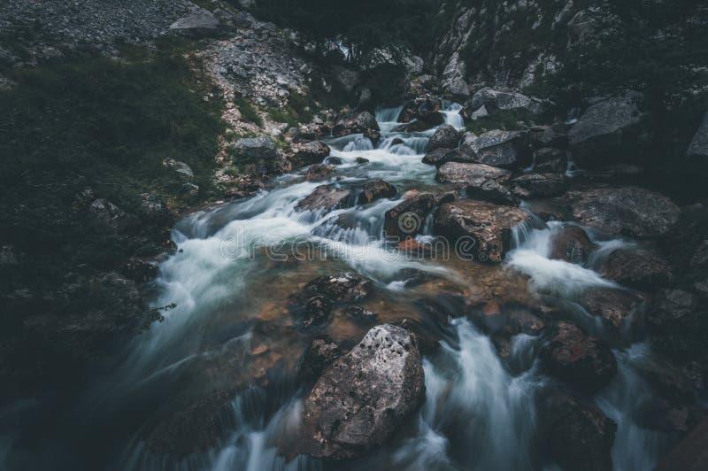 Bella cascata in mezzo alla foresta in Asturie fotografia stock