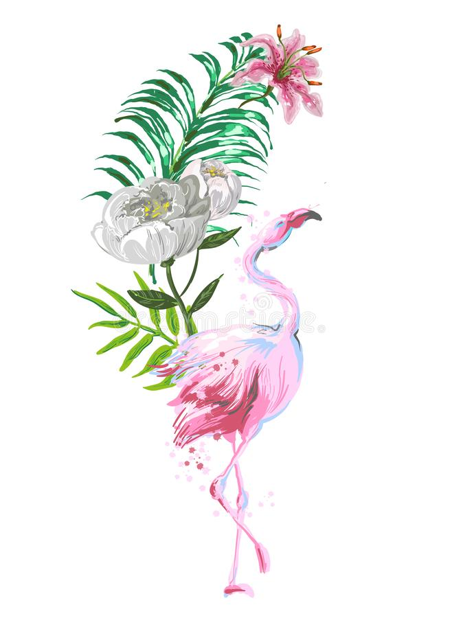 Bella composizione rosa nel fenicottero con le foglie tropicali, fiori illustrazione vettoriale
