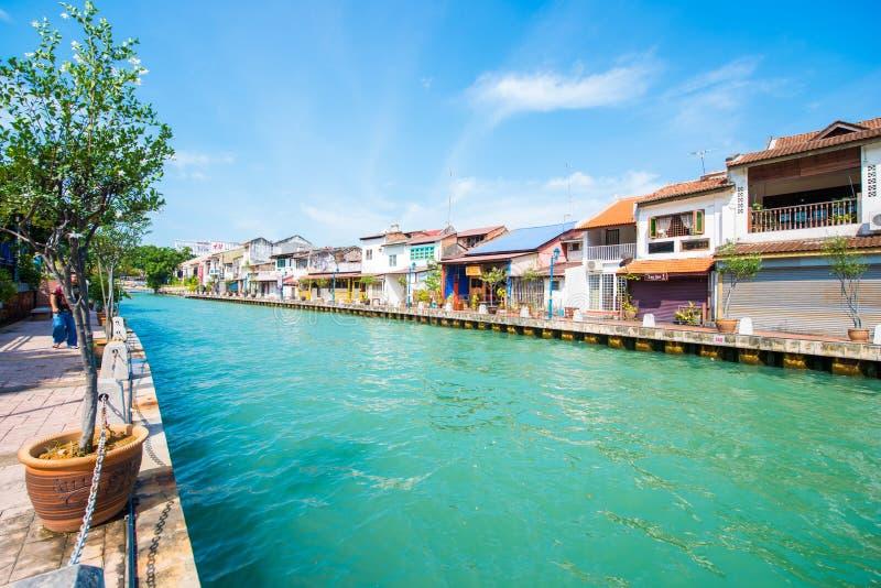Bella comunità di lungomare nella città di Melaka fotografia stock