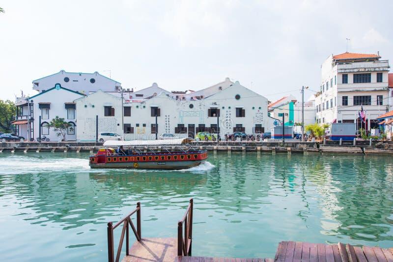 Bella comunità di lungomare nella città di Melaka fotografia stock libera da diritti