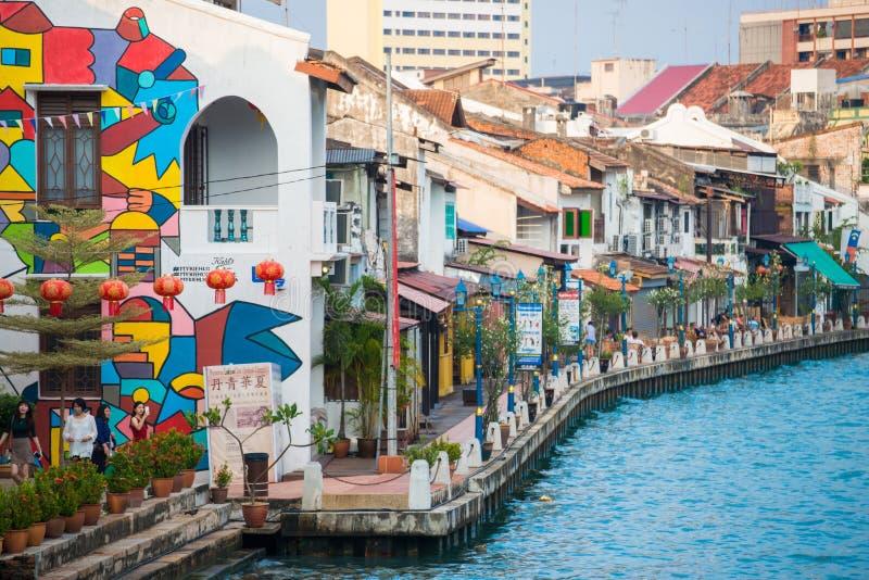 Bella comunità di lungomare nella città di Melaka fotografie stock