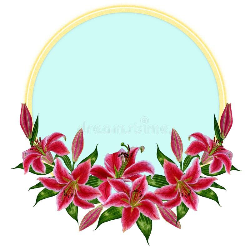 Bella corona del fiore del giglio in uno stile dell'acquerello illustrazione di stock