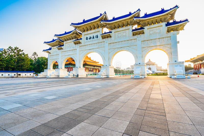 Bella costruzione di architettura e corridoio commemorativo di chiang kai-shek del punto di riferimento nella citt? di Taipeh immagine stock libera da diritti