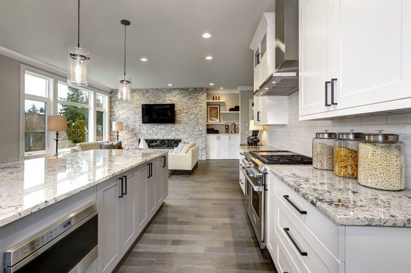 Bella cucina nell'interno moderno domestico di lusso con le sedie dell'acciaio inossidabile e dell'isola fotografie stock libere da diritti