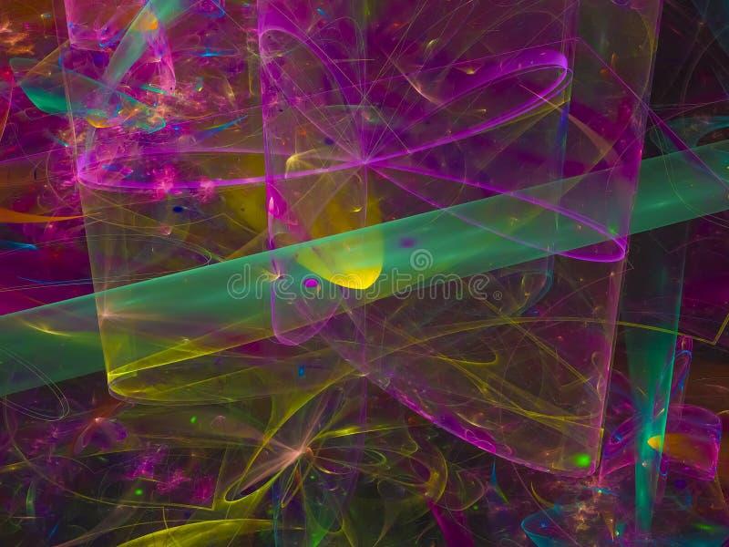 Bella curva di sogno del computer di effetto di frattale di progettazione di lustro digitale astratto del contesto illustrazione vettoriale