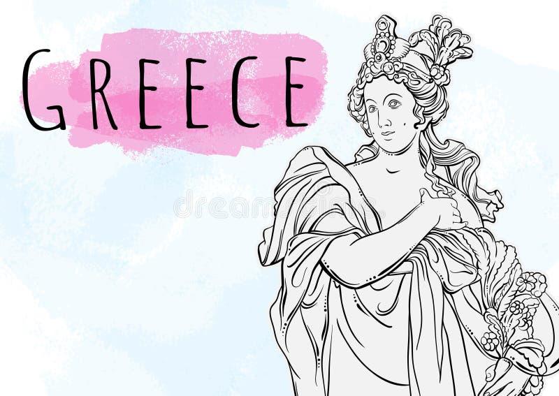 Bella dea greca L'eroina mitologica della Grecia antica Bello materiale illustrativo disegnato a mano di vettore isolato Miti e l illustrazione di stock