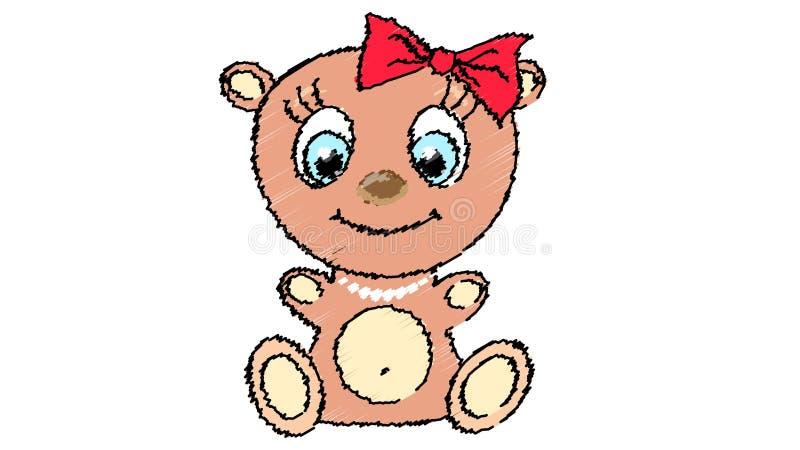 Bella, dell'orso bruno una ragazza sveglia, con una grande testa e occhi azzurri in una collana della perla e dell'arco su un fon royalty illustrazione gratis