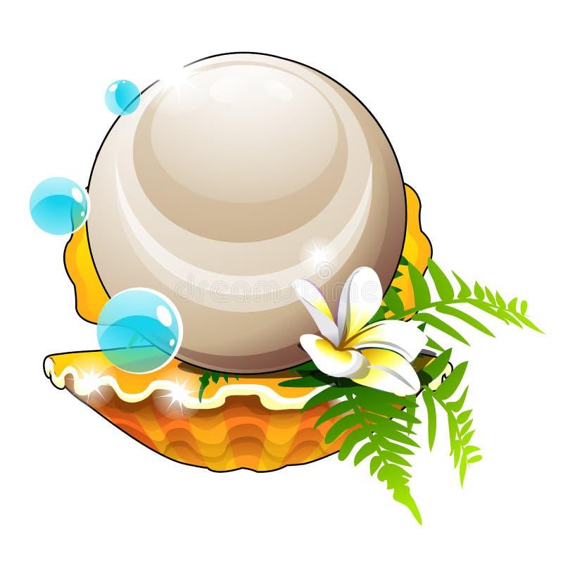 Bella disposizione delle conchiglie, del fiore e di grande perla isolata su fondo bianco Primo piano del fumetto di vettore illustrazione di stock