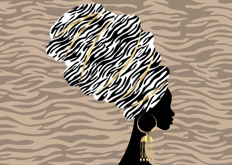 Bella donna africana del ritratto in turbante tradizionale, involucro africano, stampa tradizionale di dashiki, donne nere della  illustrazione vettoriale