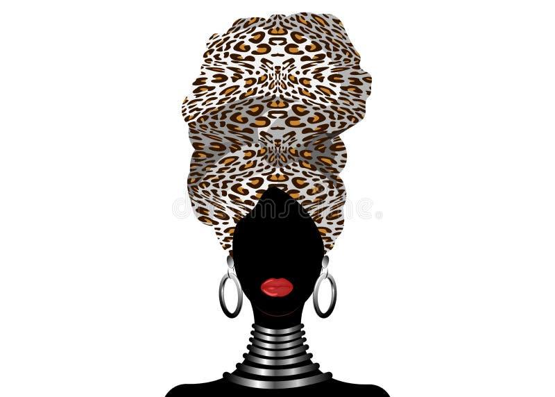 Bella donna africana del ritratto in turbante tradizionale, involucro della testa di Kente, stampa di dashiki, siluetta nera di v royalty illustrazione gratis