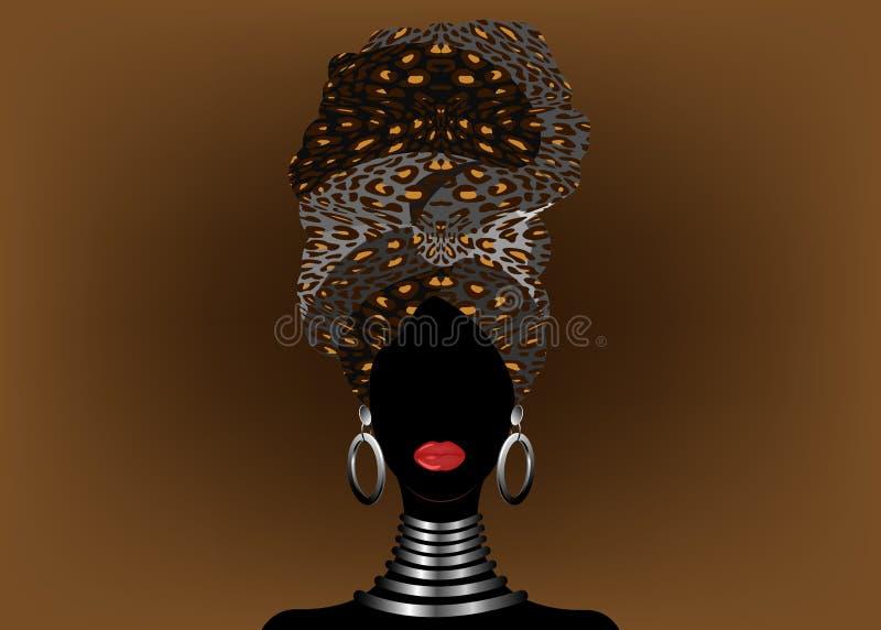 Bella donna africana del ritratto in turbante tradizionale, involucro della testa di Kente, stampa di dashiki, siluetta nera di v illustrazione vettoriale
