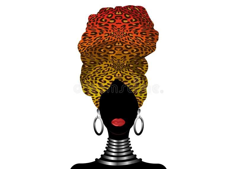 Bella donna africana del ritratto in turbante tradizionale, involucro della testa di Kente, stampa di dashiki, siluetta nera di v illustrazione di stock