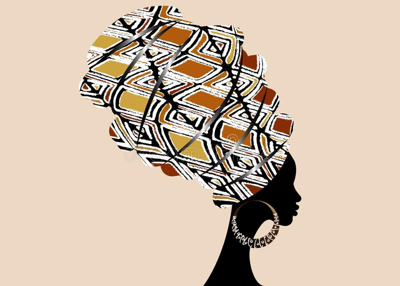 Bella donna africana del ritratto in turbante tradizionale, involucro della testa di Kente, stampa di dashiki, siluetta di vettor illustrazione di stock
