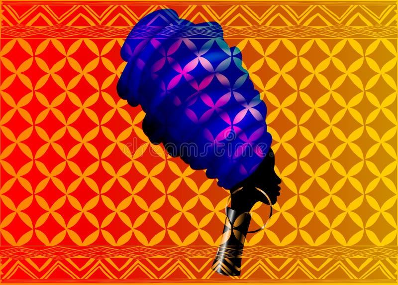 Bella donna africana del ritratto in turbante tradizionale, involucro della testa di Kente, stampa di dashiki, siluetta di vettor illustrazione vettoriale