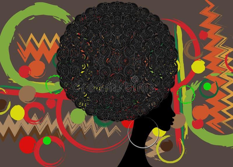Bella donna africana del ritratto in turbante tradizionale, siluetta delle donne di colore royalty illustrazione gratis