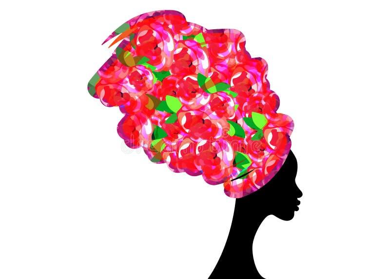 Bella donna africana del ritratto in turbante tradizionale, siluetta delle donne di colore illustrazione di stock