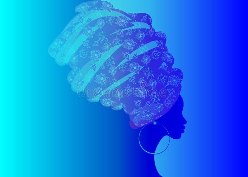 Bella donna africana del ritratto in turbante tradizionale, siluetta delle donne di colore illustrazione vettoriale