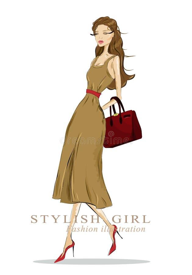 Bella donna alla moda del disegno con la borsa Sguardo dettagliato di modo illustrazione di stock