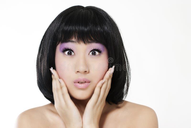 Bella donna asiatica sorpresa immagine stock libera da diritti