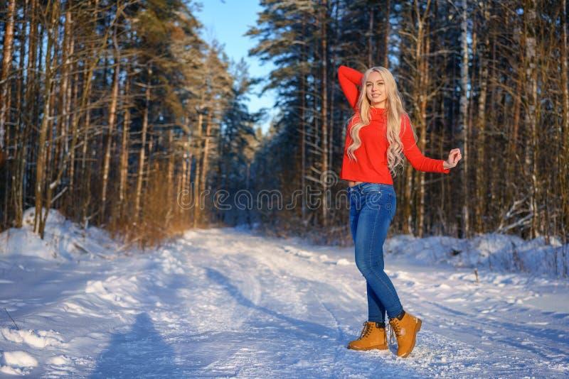 Bella donna bionda felice in maglione rosso nella foresta di inverno fotografia stock libera da diritti