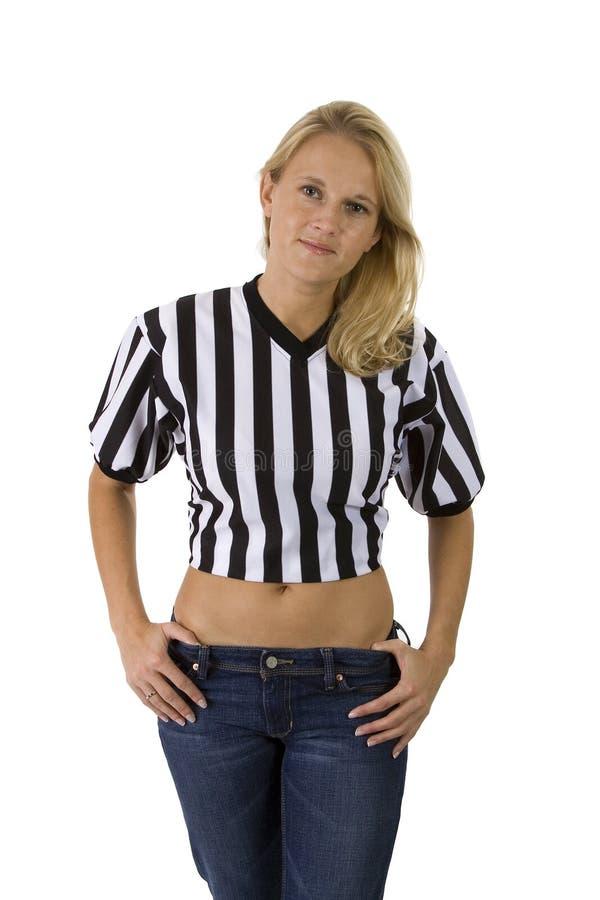 Bella donna bionda in un arbitro Shirt fotografia stock