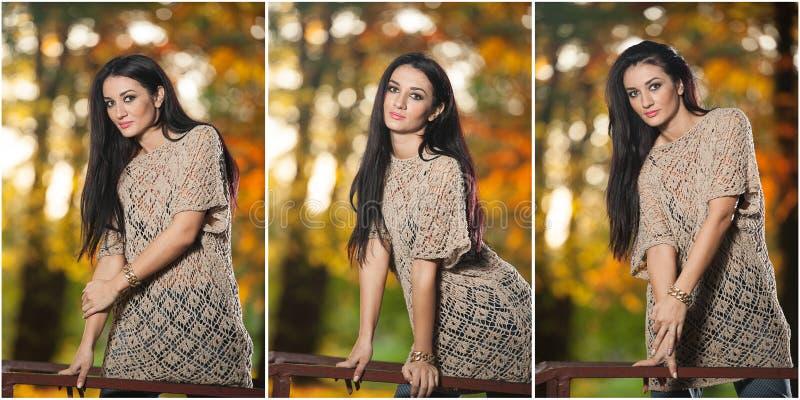 Bella donna in blusa del pizzo che posa nel parco autunnale Giovane donna castana che spende tempo in foresta durante la stagione fotografie stock libere da diritti