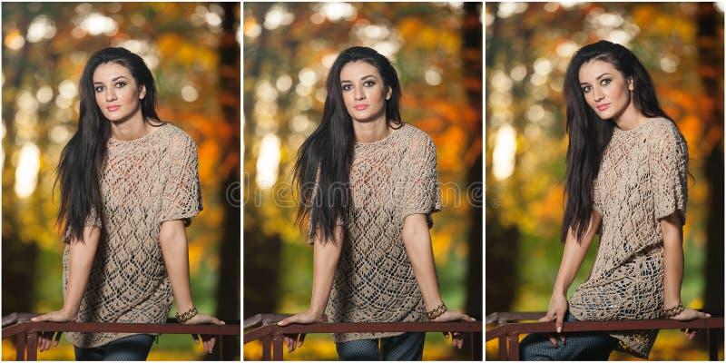Bella donna in blusa del pizzo che posa nel parco autunnale Giovane donna castana che spende tempo in foresta durante la stagione immagini stock libere da diritti