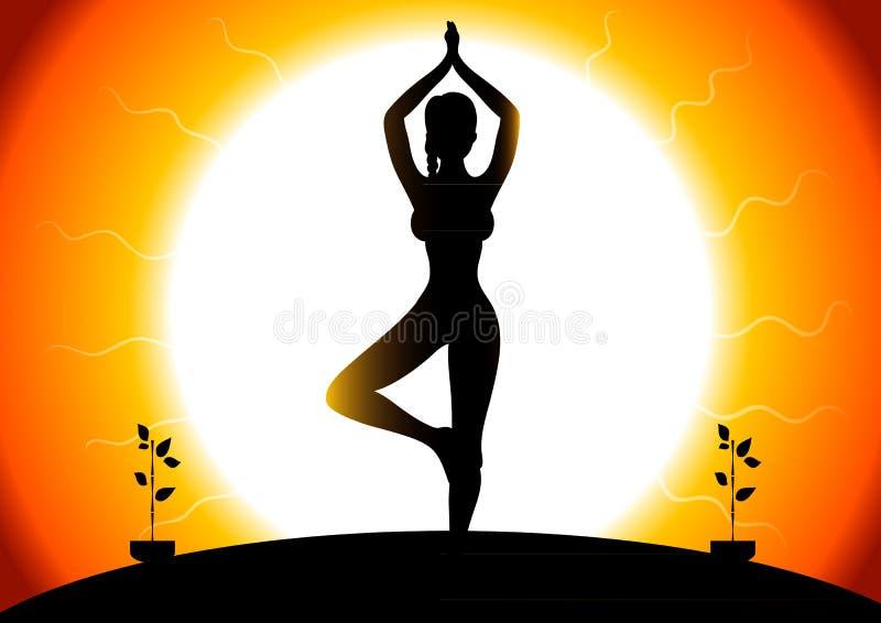 Bella donna che fa gli esercizi di youga illustrazione di stock
