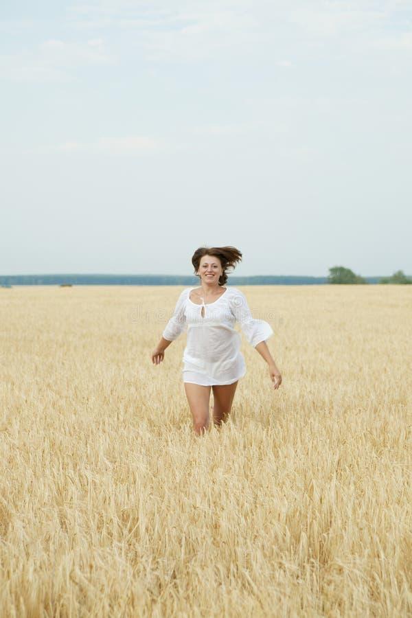 Bella donna che funziona in un campo di frumento fotografia stock libera da diritti