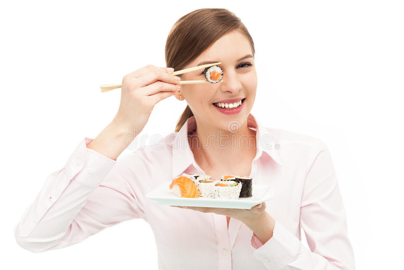 Bella Donna Che Mangia I Sushi Immagine Stock Libera da Diritti