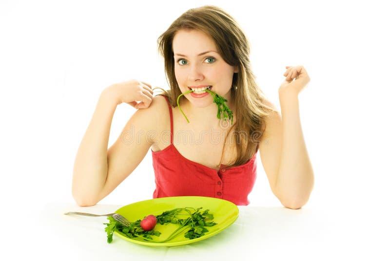 Bella donna che mantiene una dieta fotografia stock