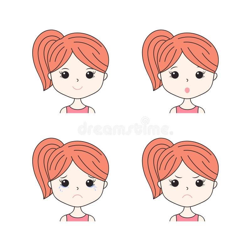 Bella donna che mostra le varie espressioni facciali Felice, triste, arrabbiato, gridi, sorrida Icone della ragazza del fumetto m illustrazione di stock